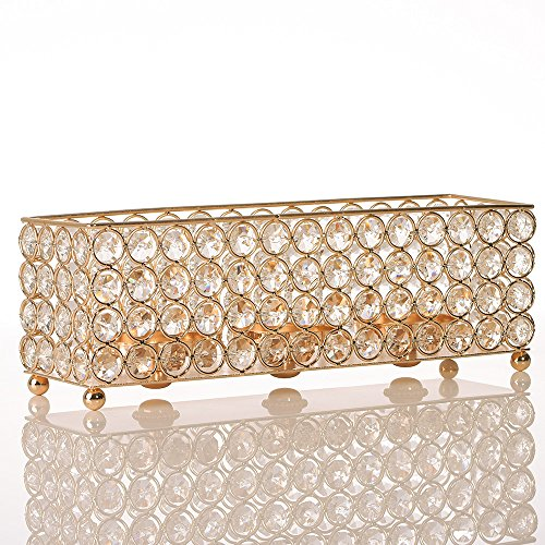- VINCIGANT Gold Crystal Tealight Candle Holders Tray for Dinning Room Coffee Table Decorative Centerpieces,Gifts for Anniversary/Mothers Day