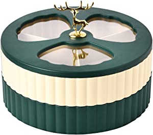maitexi Double Dried Fruit Candy Box,Creative Snack Dry Fruits Nuts Storage Tray Food Case Fruit Tray Living Room Kitchen (Beige green)