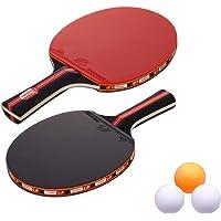 Tfheey Brand Raquetas de Tenis de Mesa, Profesionales 2 Raquetas de Ping Pong + 3 Pelotas, Alta Velocidad Juego de Tenis de Mesa para el Juego de Interior al Aire Libre