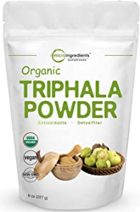 USDA Organic Triphala Powder, 8 Ounce, Organic Formula of Amla, Haritaki & Bibhitaki, Pure Triphala Supplement, Strongly Supports Diet Control and Fat Burn, No GMOs and Vegan Friendly