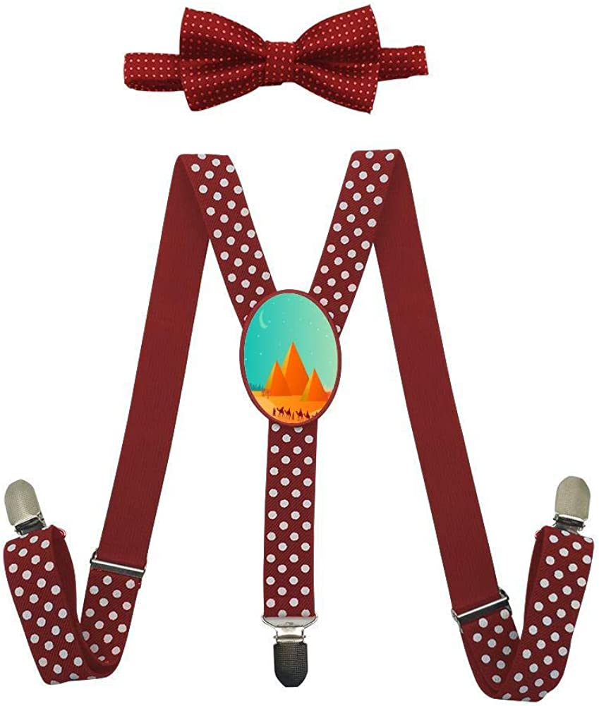 Desert Illustration Pyramid Childrens Fashion Adjustable Y-Type Suspension Belt Suit