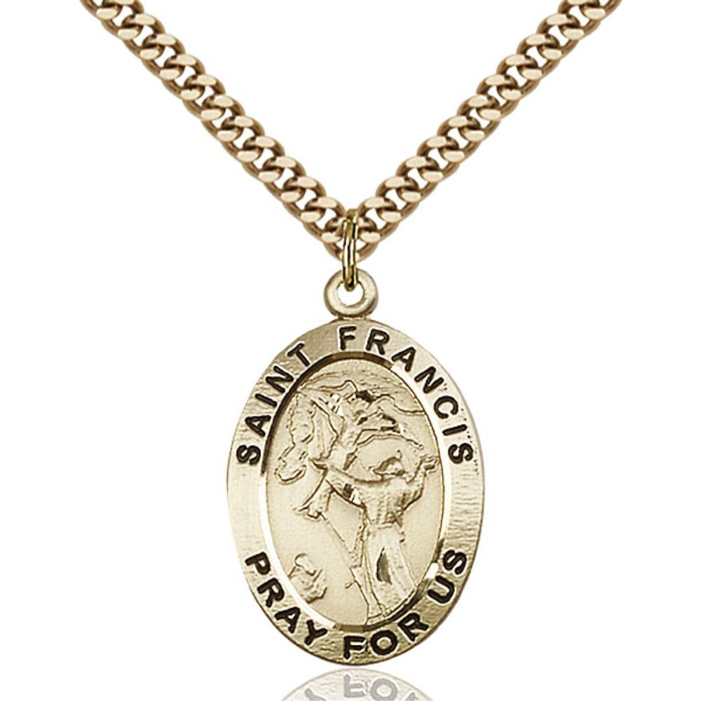 Gold Filled St. Francis of Assisi Pendant 1 x 5/8 inches with Heavy Curb Chain