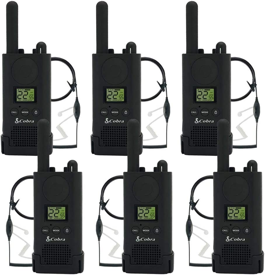 Cobra PX500 Walkie Talkies Pro Business Two-Way Radios (Six Pack, Bundled with Six GA-SV01 Headsets)
