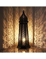 albena shop 73-118 Torre luz de Viento Linterna Oriental 58 cm Farol portavelas Metal Negro