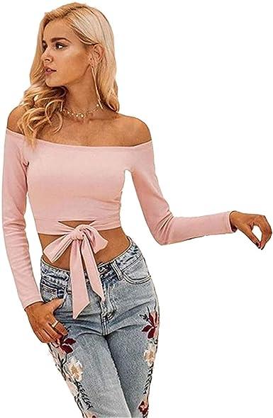 Top Mujer Elegante Primavera Verano Camisa De Manga Larga Blusa De Carmen Crop Top Rosa Casuales Blusa Ropa Tumblr Shirt Fashion Anudado: Amazon.es: Ropa y accesorios