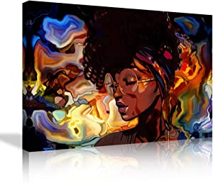 African American Woman Wall Art Afro Girls Picture Decoration Black Girl Canvas Painting Graffiti Style Posters Prints for Living Room Bedroom Wall Decor Framed Ready to Hang