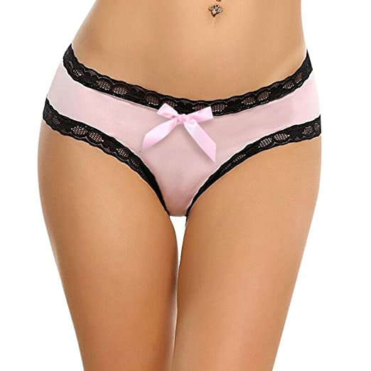 3fb9b6885ae Image Unavailable. Image not available for. Color  Yiwa Women s Bikini Lace  Trim Sexy Open Crotch Midnight Bow-Tie Panties Lingerie Pink XL