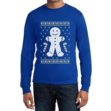 Lebkuchenmann Pfefferkuchen Lustiges Weihnachtsgeschenk Langarm T-Shirt  Small Blau
