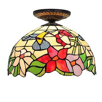 OOFAY Lámpara de Techo de Estilo Tiffany para salón Comedor ...