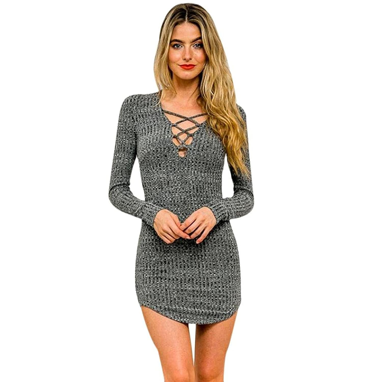 Malloom Sexy Women Lace Long Sleeve knitted Elasticity Cotton Bodycon Mini Dresses