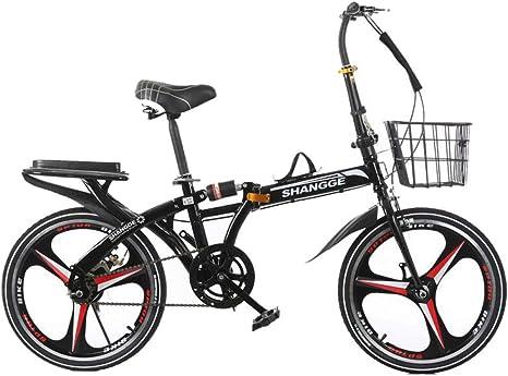 AOHMG Bicicleta Plegable Peso Ligero Adulto, 6- velocidades Bici ...