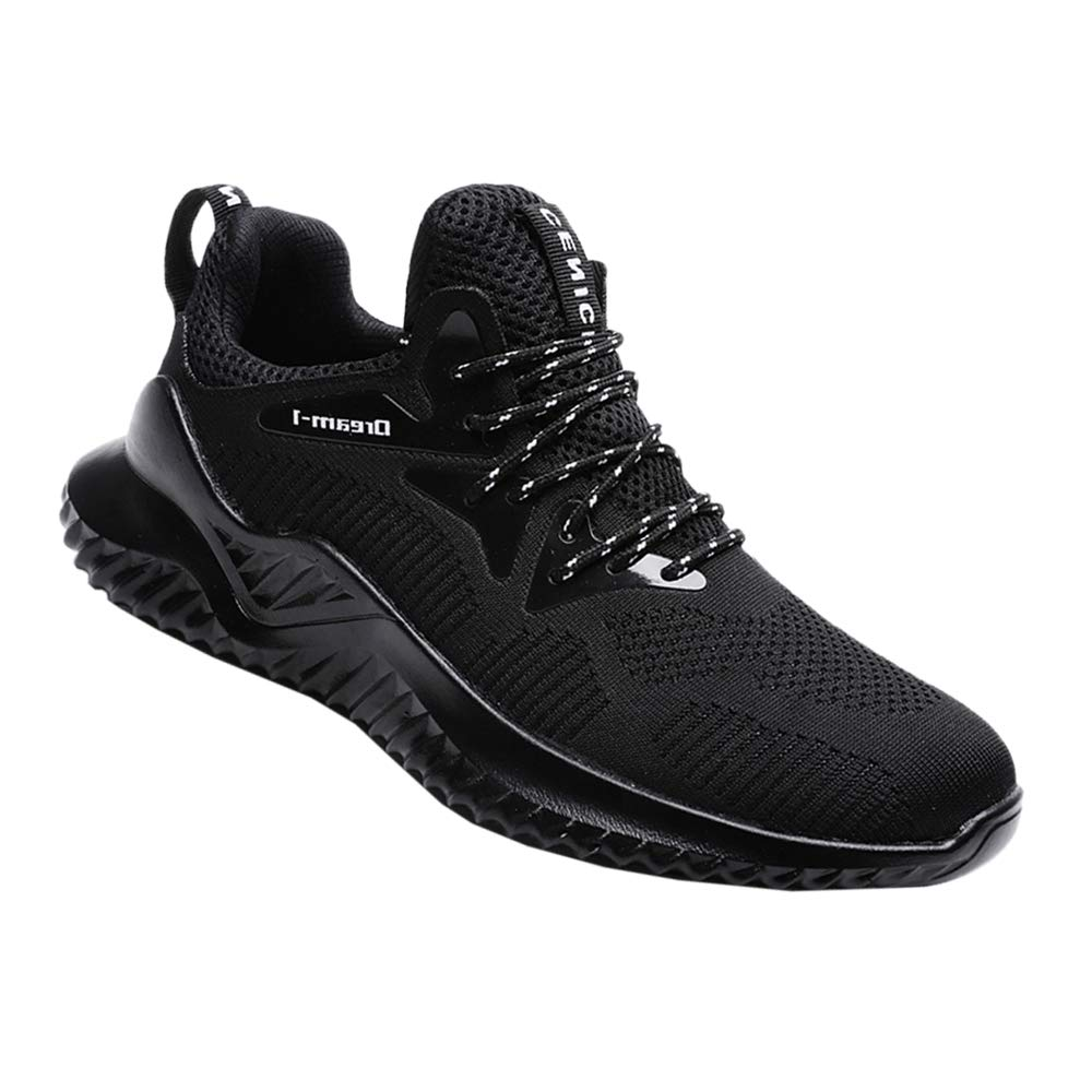 RZEN 1810hei39 Running Shoes Mens Breathable Lightweight Sports Gym Athletic Sneakers (7.5, Black)