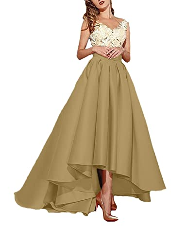 tutu.vivi Womens V Neck High Low Lace Prom Dresses Long Satin Ball Gown Evening Dress at Amazon Womens Clothing store: