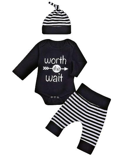 2ea5beb17 Amazon.com  Newborn 4pcs Set Outfit Striped Hoodie with Romper ...
