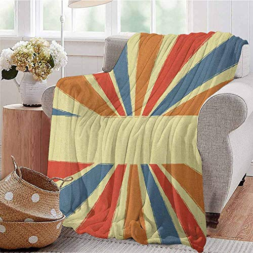 Luoiaax Vintage Rainbow Commercial Grade Printed Blanket Hand Drawn Style Burst of Colorful Sunbeams with Grunge Effect Retro Design Queen King W70 x L90 Inch Multicolor