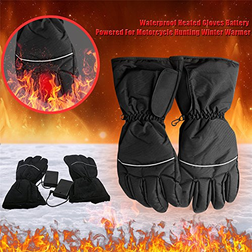Waterproof Heated Gloves Battery Powered Winter Warmer For Motorcycle For Travel, Hiking,Rock Climbing,Skiing,Cycling, Hunting, Outdoor Sports by Purelemon
