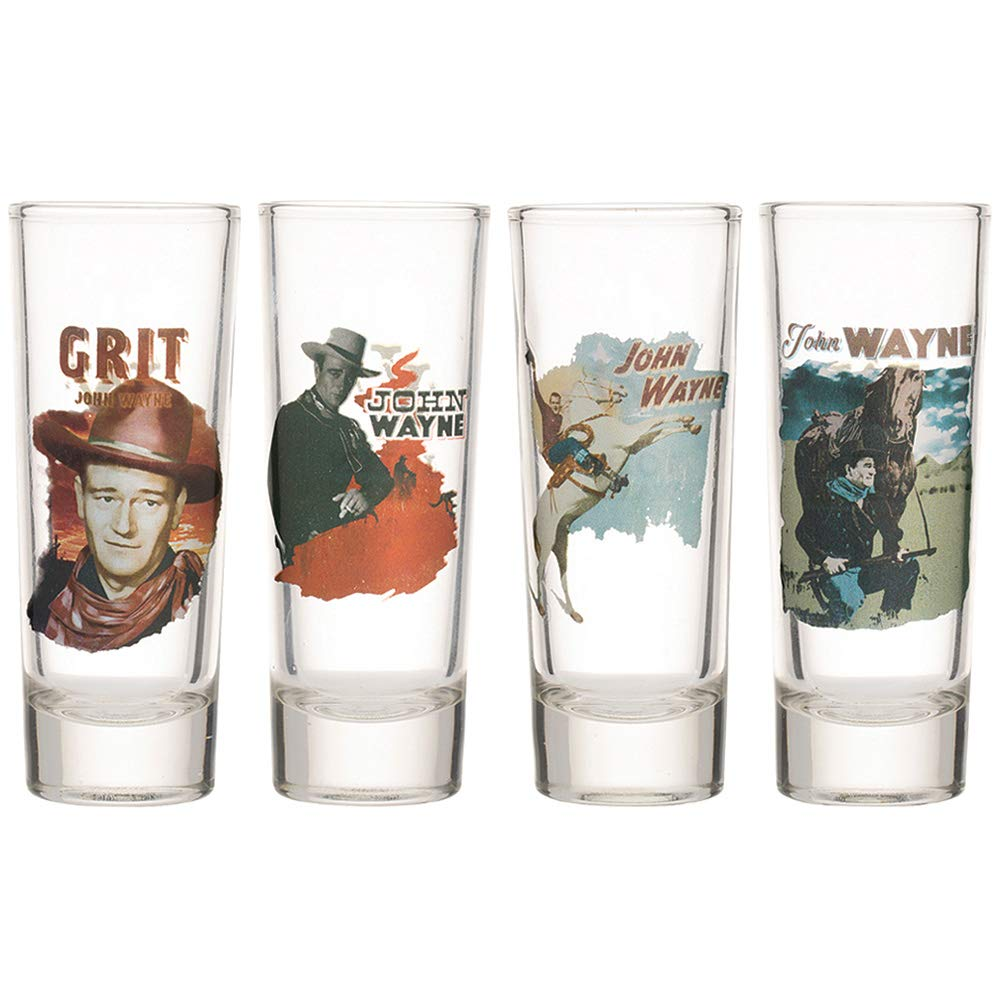 (Set/4) John Wayne Tall Glass Shooters - Collectibles w/Full Color Image