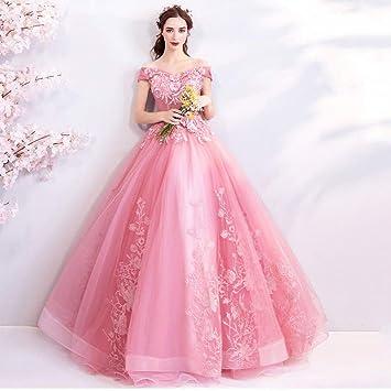 YT,ER Robe de Mariée Princesse Rose Cour Rétro Style Grand V,Cou Mariage