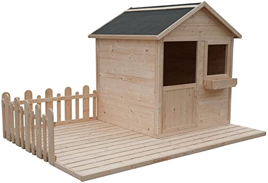 cadema Jardín Casita para niños – Madera Niños casa de juguete 2,4 x 1,6 m: Amazon.es: Jardín