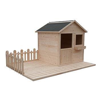 cadema Jardín Casita para niños - Madera Niños casa de juguete 2,4 x 1,6 m: Amazon.es: Jardín