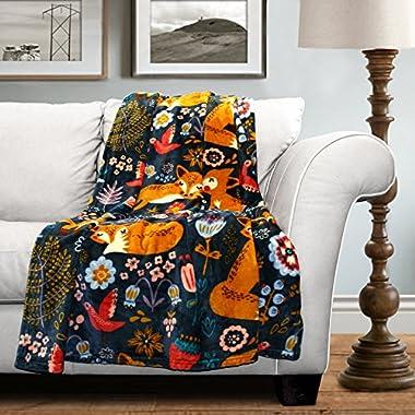 Lush Decor Pixie Fox Flannel Throw, 60 x 50 Inches, Navy