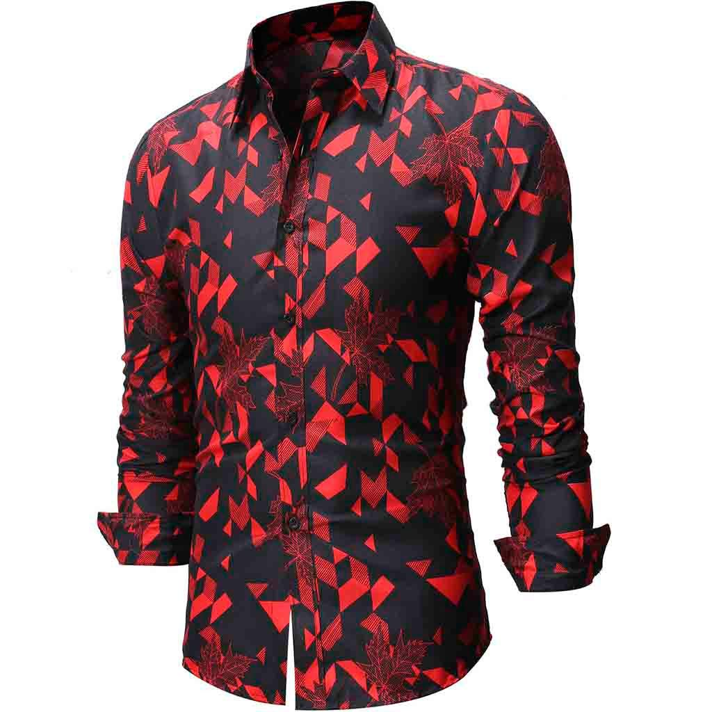 iCJJL Men Long Sleeve Ethnic Printed Dress Shirt Casual Tribal Geometric Floral Paisley Fitted Button Down Pattern Shirt