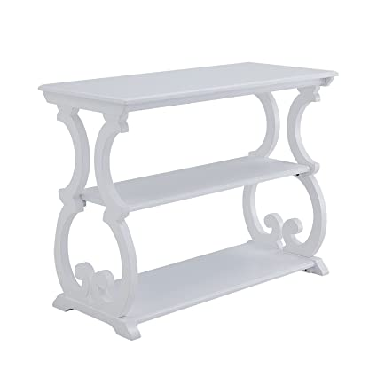 Amazon com: Scroll Table (Distressed White): Kitchen & Dining