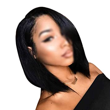 Short Lace Front Human Hair Wigs Straight Peruvian Remy Hair Bob Wig with Pre Plucked,