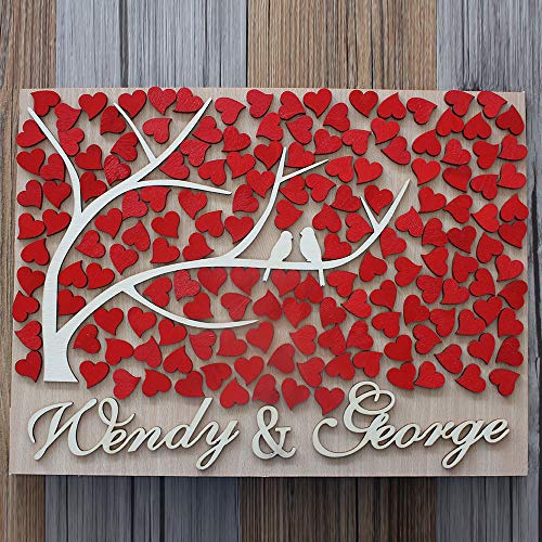 Guestbook MarthaFox Wedding Guest Book Alternative Wood Personalized 3D with Couple Name | Ebay N511577