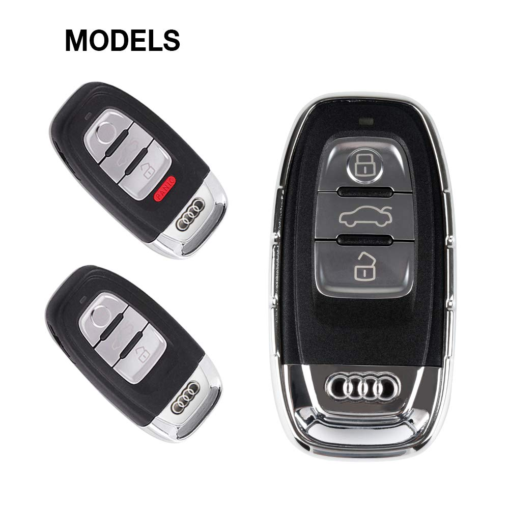 1797 Compatible Key Fob for Audi Accessories A3 A4 A5 A6 A7 A8 Q3 Q5 Q7 Quattro Case Holder Cover Car Remote Chain Ring Shell Protector Women Men TPU Slowing Silver