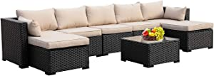 Outdoor PE Rattan Furniture Set 6 Piece Patio Wicker Sectional Sofa Chair with Khaki Cushion