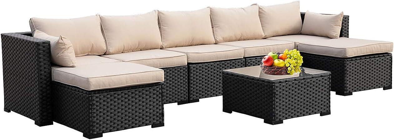Amazon Com Outdoor Pe Rattan Furniture Set 6 Piece Patio Wicker Sectional Sofa Chair With Khaki Cushion Garden Outdoor
