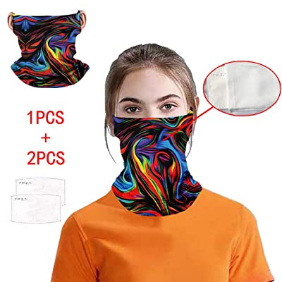 Ulanda 2PC Face Cover Bandanas with 6PC Filter Neck Multifunctional Mounting Ear Headband Breathable Face Cover (1PC+2PC #10): Kitchen & Dining