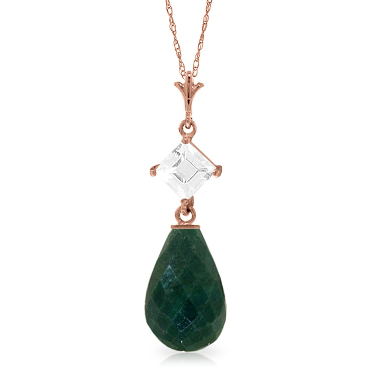 ALARRI 14K Solid Rose Gold Necklace w// Rose Topaz /& Emerald with 18 Inch Chain Length