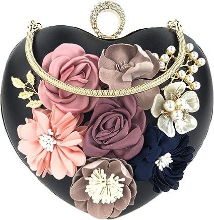 NEW WOMENS LADIES SATIN CLUTCH BAG BRIDAL EVENING PARTY SHOULDER FLOWER HANDBAG