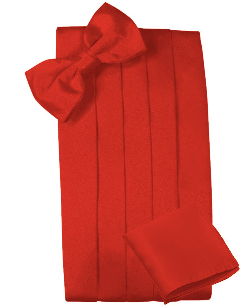 Mens Satin Cummerbund Bowtie Hanky set, 4 Pleat, Large Variety of Solid Colors Available, by Platinum Hanger (Red) CUMSET