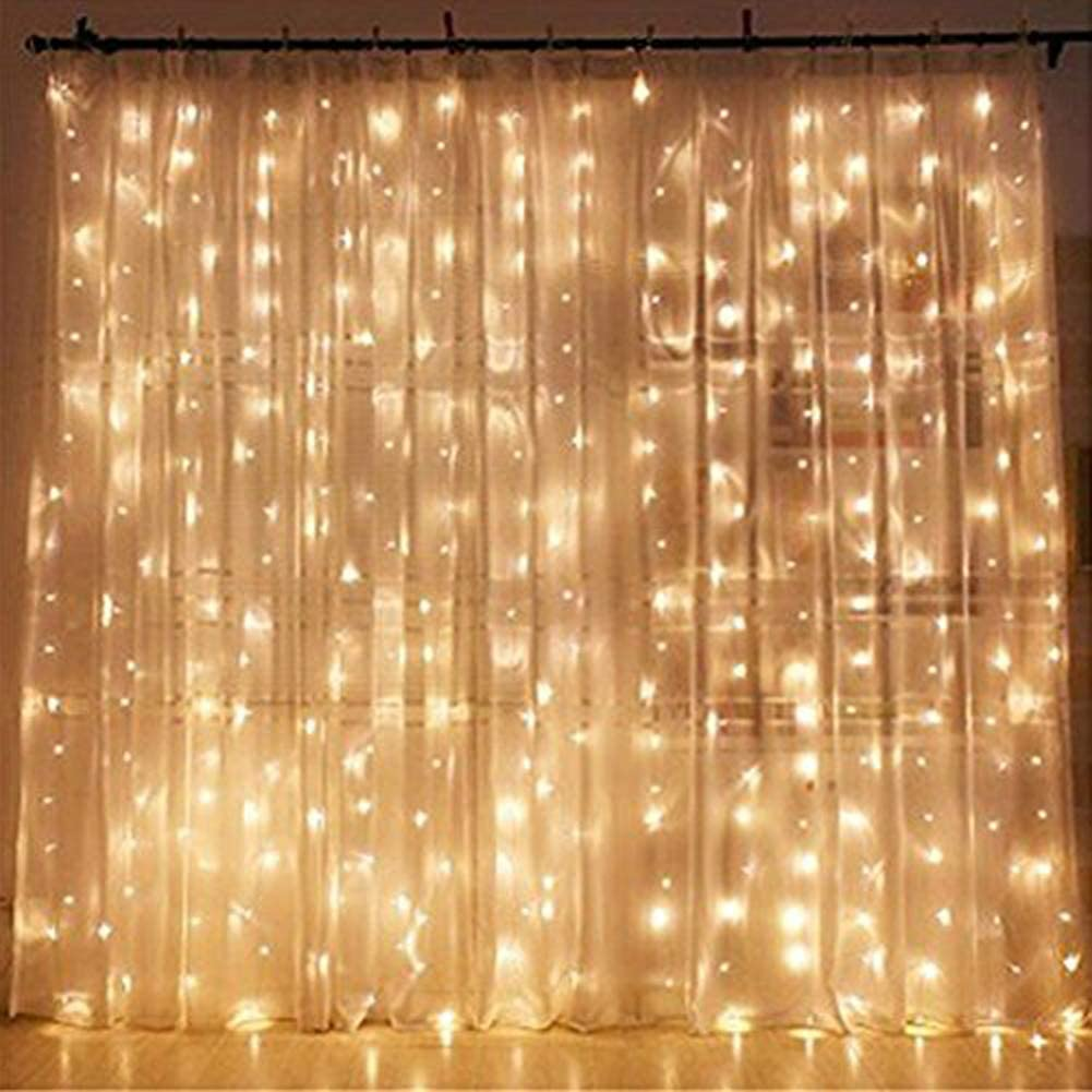 TenSteed 300 LED Window Curtain String Light Wedding Party Home Garden Bedroom Outdoor Indoor Wall Decorations, Warm White (1)
