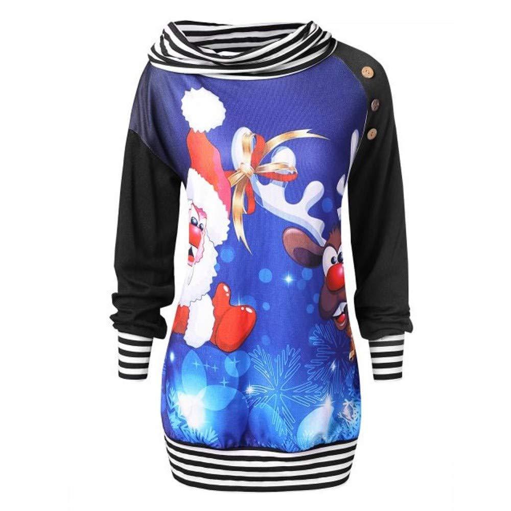 Jiayit Womens Winter Christmas Sweatshirt Plus Size Santa Claus Elk Turtleneck Blouse