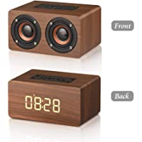 Bluetooth Speaker, MODAR Portable Wireless Speaker Dual Driver AUX Input Bluetooth 4.2,TF Card Speaker Wooden Alarm Clock with FM Radio, Gift for Family