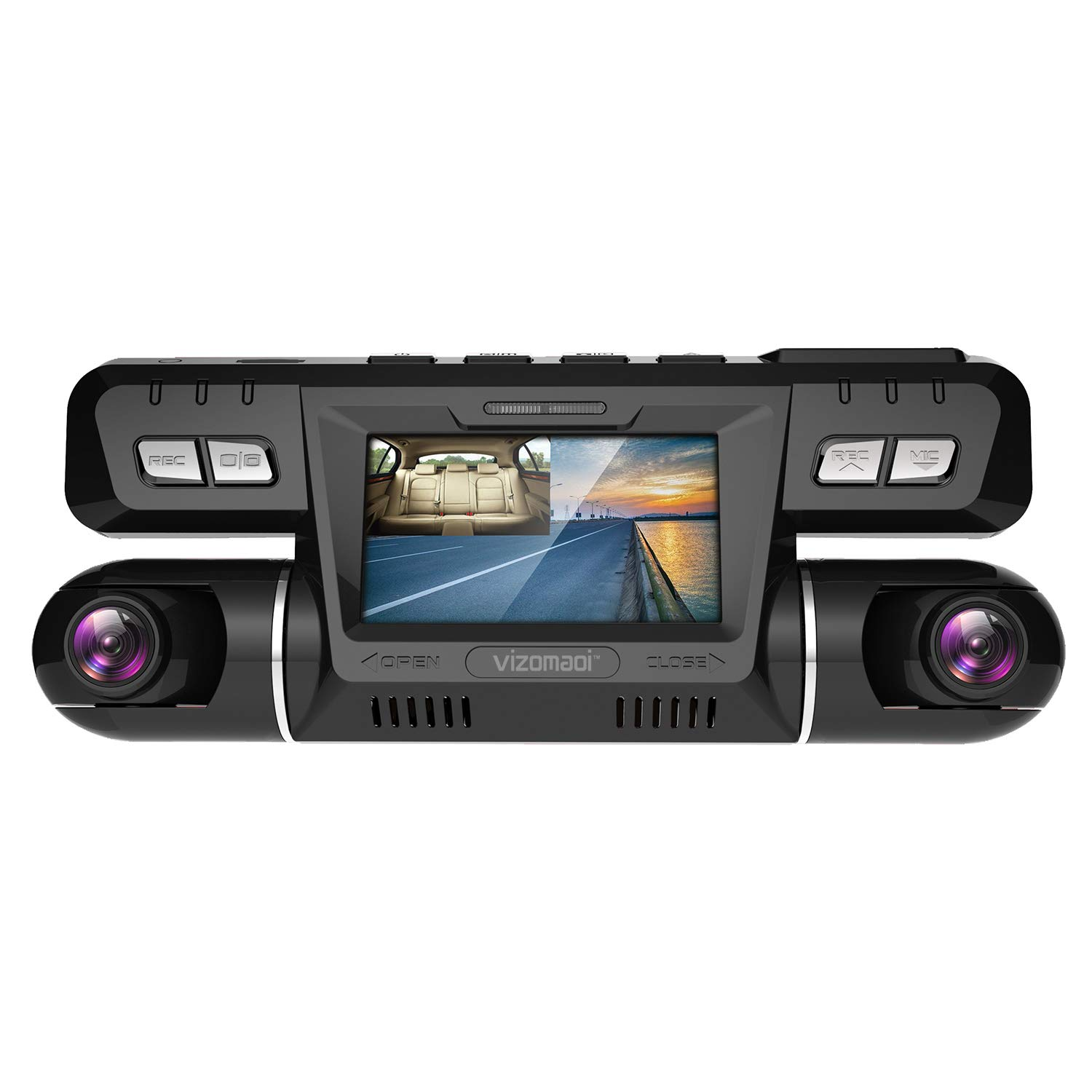 Vizomaoi P28 Dash Cam with WiFi, Dual 1920x1080P Front and Cabin Dash Camera for Cars, Uber Taxi