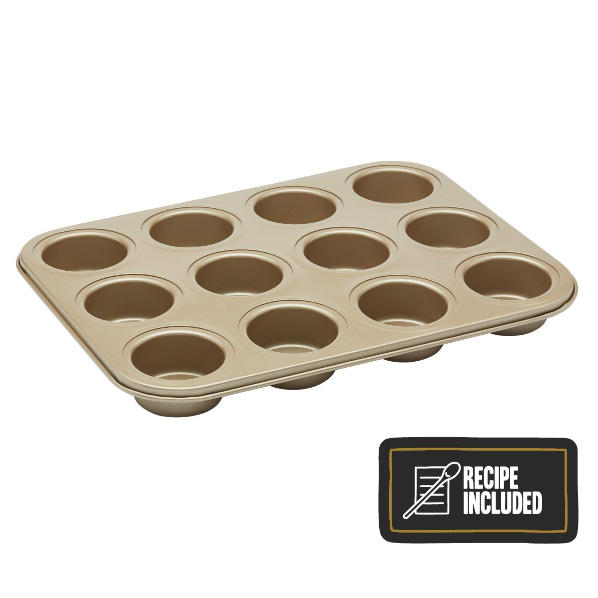 KitchenCraft Paul Hollywood 12-Hole Non-Stick Baking Tin, 31.5 x 24 cm (12.5 x 9.5) (with Recipe) Kitchen Craft PHHB101