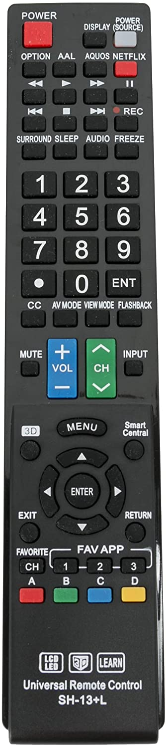 New SH-13+L Universal Remote Control for Almost All Sharp Brand LCD LED HD TV, Smart TV GB004WJSA GB005WJSA GA890WJSA GB118WJSA GJ221-C GJ221