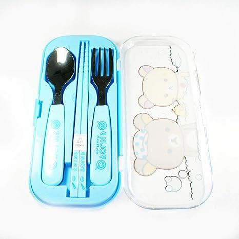Cubiertos para niños en colour azul con sushi, tenedor y ...