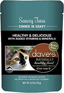 Dave's Naturally Healthy Wet Cat Food Pouches – Saucey Tuna Dinner In Gravy - 2.8 oz Pouches, 24Count