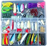 Fishing Lure Set Kit Lots With Free Tackle Box,LifeVC Fishing Lures Baits Tackle Set For Freshwater Trout Bass Salmon-Include Vivid Spinner Baits,Topwater Frog Lures,Crankbaits Lures,Spoon Lures,and More