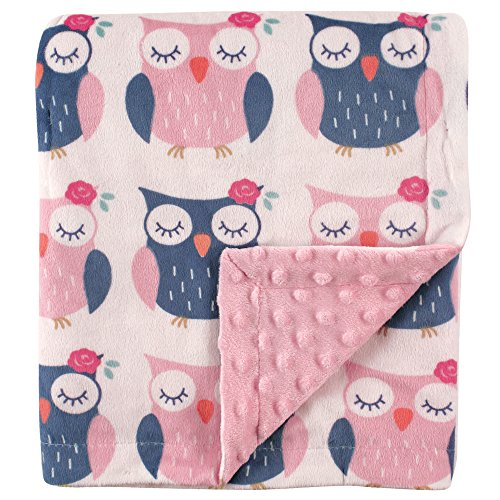 Hudson Baby Printed Mink Blanket with Dotted Backing, Owls