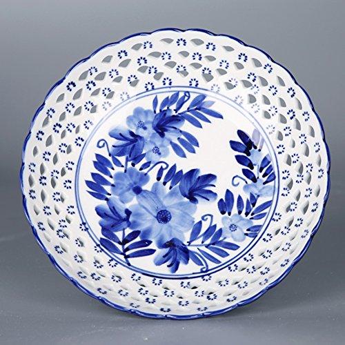 (Blue-and-white round pierced fruit plates landscape creative home fruit basket-B)