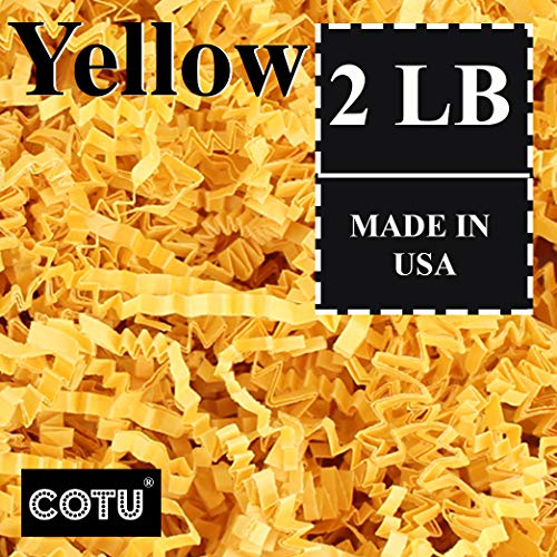COTU (R) 2 LB Yellow Crinkle Shred Gift Basket Shred Crinkle Paper Filler Bedding (32 oz) in a Box]()