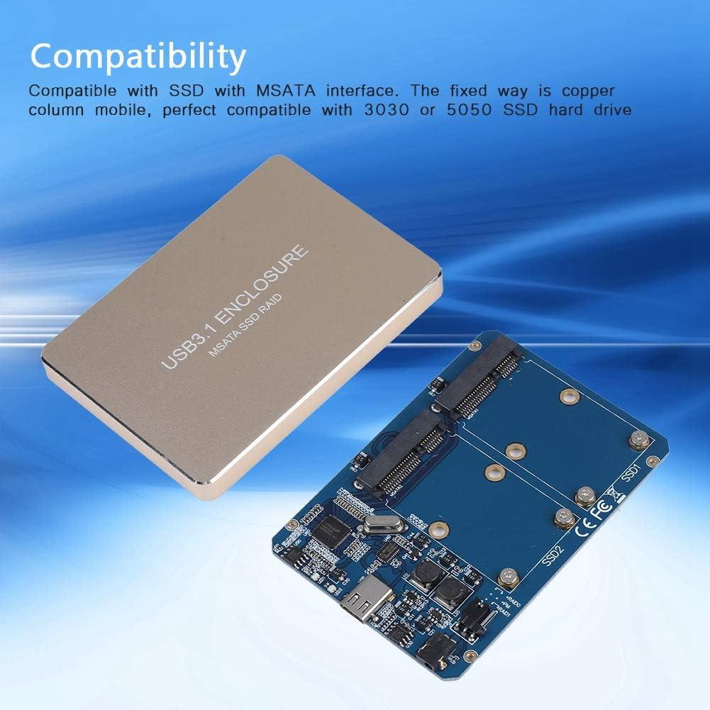 Lecxin Carcasa SSD Externa, USB3.1 Type-C a 2 Puertos MSATA SSD ...