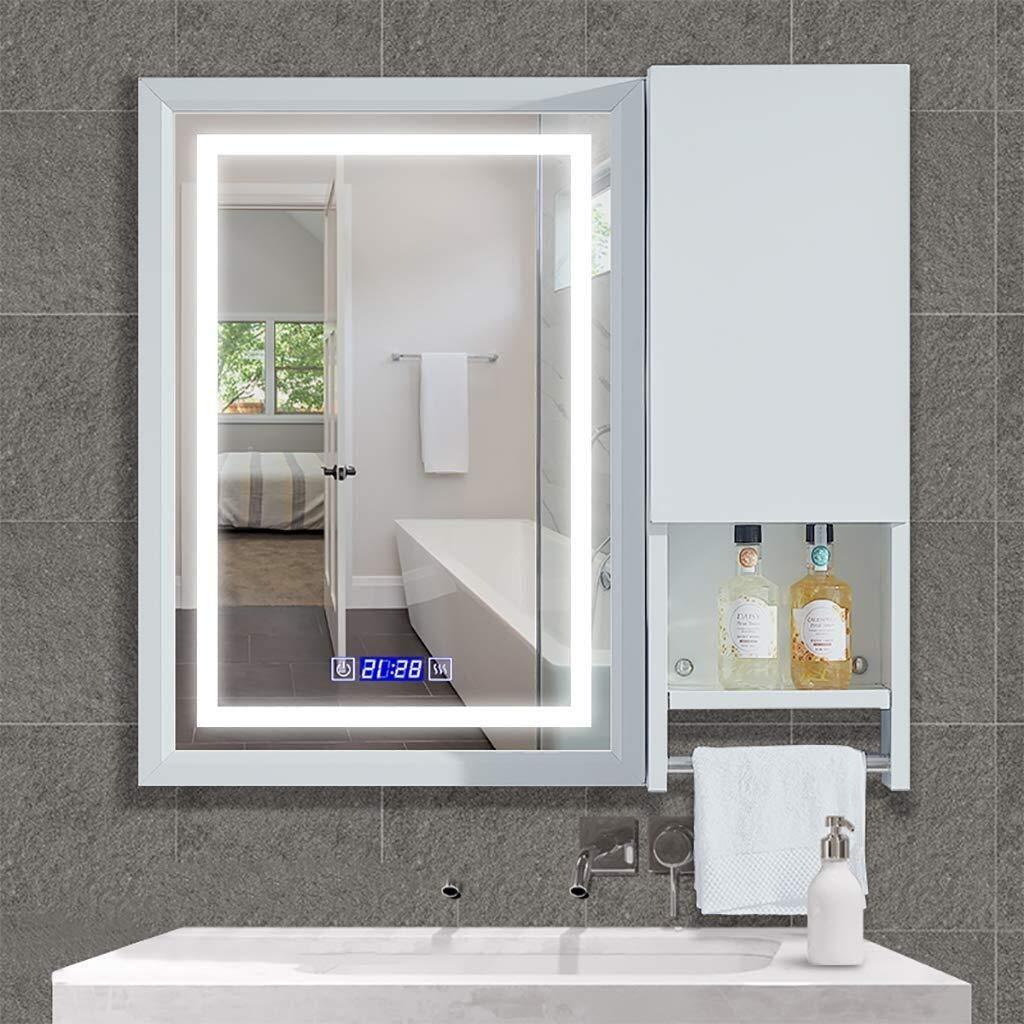 Beauty mirror LED Bathroom Mirror,Illuminated Bathroom Wall Mirror with Rack and Touch Switch,5MM Explosion-Proof Mirror White Light Rectangle Makeup Mirror Aluminum Frame Dressing mirror by Makeup Mirrors